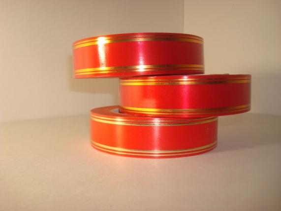 3,0 см х 50у подарочная декоративная лента с золотой полосой - 3х50у красная а379 A379