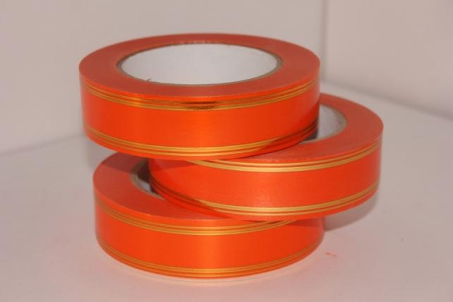 Подарочная Декоративная Лента с золотой полосой - 3х50у Оранжевая А3029