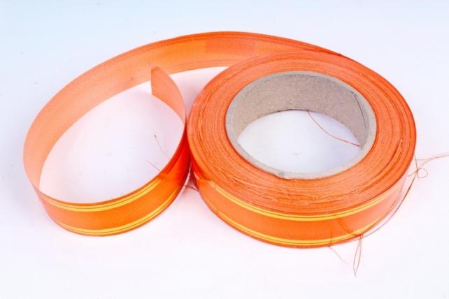 Подарочная Декоративная Лента с золотой полосой - 3х50у Оранжевая Т307