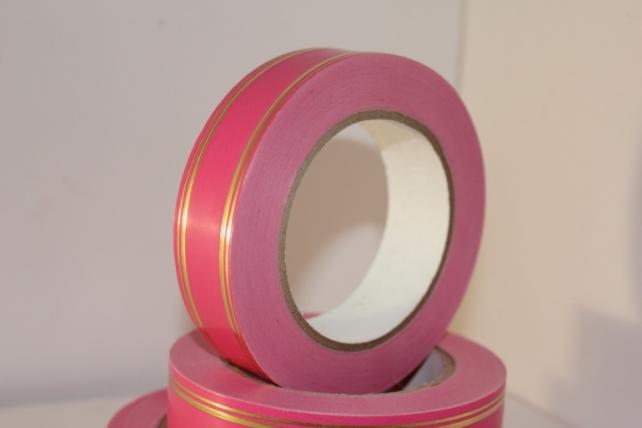 3,0 см х 50у (2п) лаковая подарочная декоративная лента с золотой полосой - 3х50у розовая 502