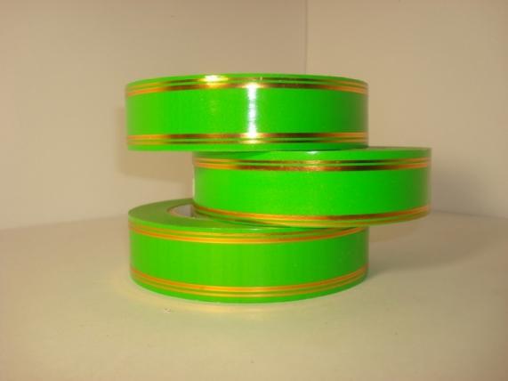 3,0 см х 50у подарочная декоративная лента с золотой полосой - 3х50у салатовая а369 A369