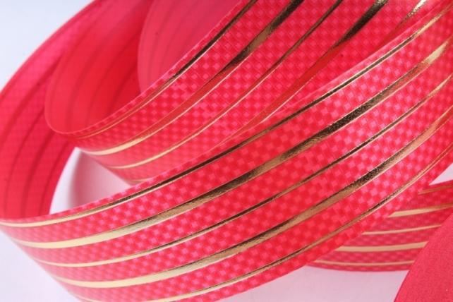 """Подарочная Декоративная Лента с золотой полосой - 3х50у """"Шашечки"""" Красная L326"""