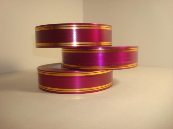 3,0 см х 50у подарочная декоративная лента с золотой полосой - 3х50у вишнёвая а3028 A3028
