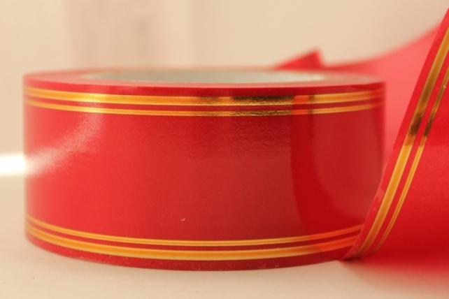 5,0 см х 50у подарочная декоративная лента с золотой полосой - 5х50у красная a539 A539