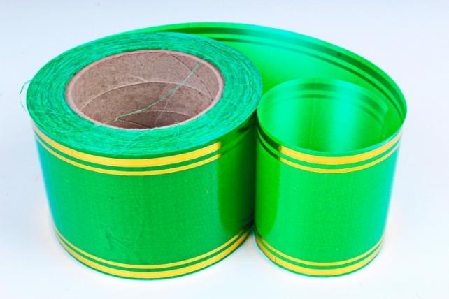 Подарочная Декоративная Лента с золотой полосой - 8х50у Зелёная A818