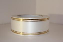 Подарочная Декоративная Лента с золотой полосой - лаковая 5х50у Белая L501