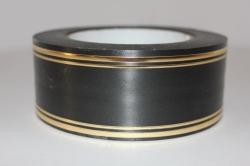 Подарочная Декоративная Лента с золотой полосой - лаковая 5х50у Чёрная L513