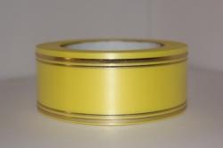 Подарочная Декоративная Лента с золотой полосой - лаковая 5х50у Жёлтая L503