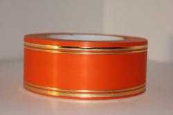 Подарочная Декоративная Лента с золотой полосой - лаковая 5х50у Оранжевая L507