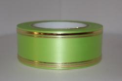 Подарочная Декоративная Лента с золотой полосой - лаковая 5х50у Салатовая L504