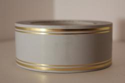 Подарочная Декоративная Лента с золотой полосой - лаковая 5х50у Серая L514