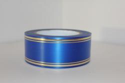 Подарочная Декоративная Лента с золотой полосой - лаковая 5х50у Синяя L511