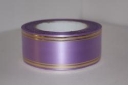 Подарочная Декоративная Лента с золотой полосой - лаковая 5х50у Сиреневая L512