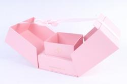 Подарочная коробка - КУБ-трансформер розовый