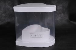 Подарочная коробка - Сердце-трансформер с прозрачной стенкой белое