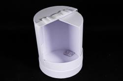 Подарочная коробка 1 шт - Цилиндр трансформер с поворотом белый  d=17, h=21см