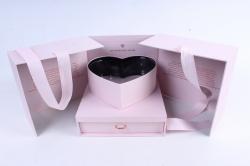 Подарочная коробка - Трансформер Куб с сердцем шкатулкой розовый