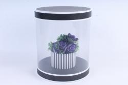 Подарочная коробка (1шт)- Цилиндр чёрный с прозрачными стенками трансформер  W9992