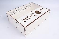 """Подарочная коробка (А) прямоугольная с сердечками """"LOVE"""" (Белый )Я060"""