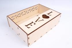 """Подарочная коробка (А) прямоугольная с сердечками """"LOVE""""  (Бесцветный )Я060"""