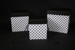 Подарочная коробка - Б Куб Горох чёрно-белый 20,5*20,5*20,5