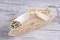 подарочная коробка - бонбоньерка  крем/золото ( 12 шт в уп) 801