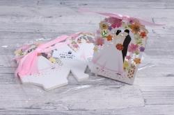 Подарочная коробка - Бонбоньерка  Молодожёны белые ( 12 шт в уп) 809