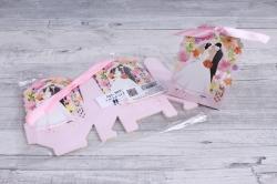 Подарочная коробка - Бонбоньерка  Молодожёны розовые ( 12 шт в уп) 809