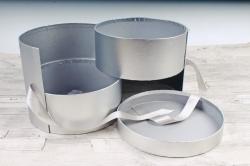 Подарочная коробка для цветов 1шт - Цилиндр трансформер серебро  К838