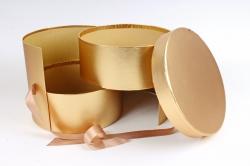 Подарочная коробка для цветов 1шт - Цилиндр трансформер золото  К838