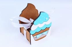 """Подарочная коробка """"Кекс"""" малая  МДФ, коричневый-голубойПУ470-02-1707"""