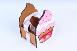 """Подарочная коробка """"Кекс"""" малая  МДФ, коричневый-розовыйПУ470-02-1705"""