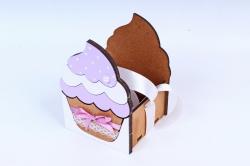 """Подарочная коробка """"Кекс"""" малая  МДФ, коричневый-сиреневыйПУ470-02-1709"""