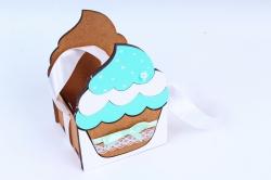 """Подарочная коробка """"Кекс"""" малая  МДФ, коричневый-тиффаниПУ470-02-1726"""