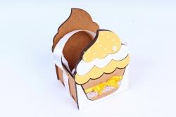 "Подарочная коробка ""Кекс"" малая МДФ,  коричневый-желтыйПУ470-02-1716"