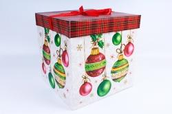 """Подарочная коробка - КУБ """"Новогодний"""" Разноцветные шары  SF-5040XL (1шт) М"""