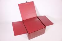 Подарочная коробка - Квадрат трансформер под цветы - бордовый 24*24*15см