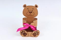 """Подарочная коробка """"Мишка""""  МДФ, оформленная морилка дубПУ461-00-3710М"""