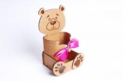 """Подарочная коробка """"Мишка"""" МДФ, оформленнаяПУ461-00-1710"""