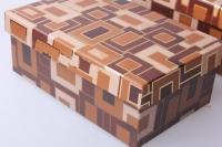 подарочная коробка (набор из 10 шт.) прямоугольник коричневый с квадратами 36,5х28,5х16,3см 2717