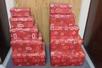 Подарочная Коробка (набор из 10 шт.) Прямоугольник красный с овалом 36,5х28,5х16,3см 2007R