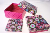 Подарочная Коробка (набор из 3 шт.) Квадрат Узор 14,5х14,5х7см 10392-1