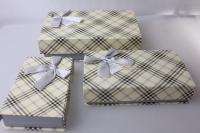 Подарочная Коробка (набор из 3 шт.) Прямоугольник Клетка-крышка на магните 25х15х7см 1036-46 - Цвета в ассортименте
