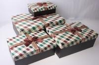 Подарочная Коробка (набор из 4 шт.) Прямоугольник Коричневый в клетку с бантом 21,5х31,5х12см 1036-30