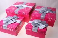 Подарочная Коробка (набор из 4 шт.) Прямоугольник Квадрат с бантом 26,5х26,5х12см цвета в ассортименте