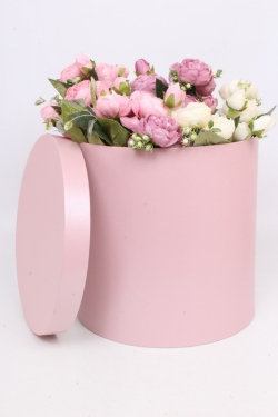 Подарочная коробка одиночная - Цилиндр Розовый перламутр 29.5*29.5см Пин30/30-Р
