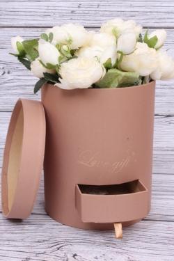 Подарочная коробка одиночная - Цилиндр с ящиками шелк какао d=16,h=20см  В213