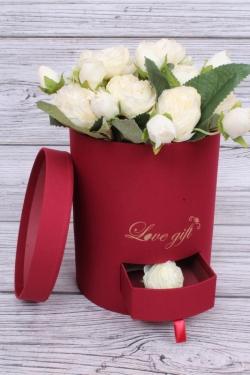 Подарочная коробка одиночная - Цилиндр с ящиками шелк красный d=16,h=20см  В213