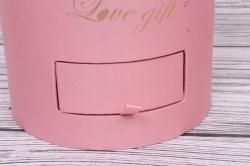 Подарочная коробка одиночная - Цилиндр с ящиками шелк розовый d=16,h=20см  В213