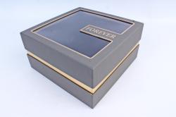 Подарочная коробка одиночная - Квадрат с окном серый  Z11